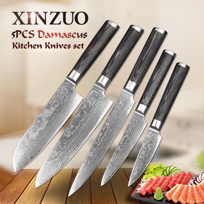 XINZUO 5 pcs Cuisine Couteau Ensemble 67 Couche Japonais VG10 Acier Damas Couperet Viande Chef Utilitaire Cuisine Couteaux Pakka Bois poignée