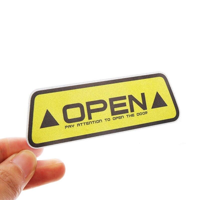 """4 шт./компл. Автомобиль открыть светоотрающей полосой Предупреждение отражающая открытая уведомления велосипедные аксессуары наружные двери автомобиля наклейки """"сделай сам"""" - Название цвета: YW1"""