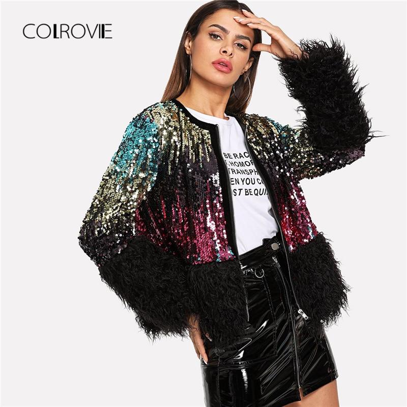 COLROVIE Sequin Streetwear Faux Fur Coats Women Jacket Autumn Casual Fashion Office Winter Warm Night Out Lady Outwear