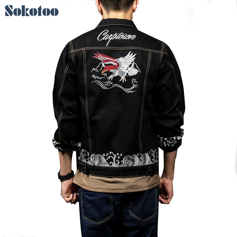 Sokotoo Mens plus size embroidery denim jean jacket Trendy black turn down collar full sleeve loose coat