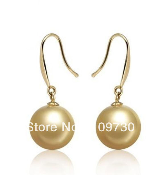 ry00113 PERFECT ROUND AAA 8-9MM NATURAL AUSTRALIAN SOUTH SEA GENUINE GOLD PEARL EARRING
