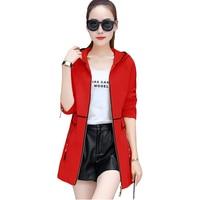 Women Plus size Windbreaker Coat Spring Autumn Slim Long Trench Coats Women's Fashion Add Cotton Long sleeve Hooded Overcoat 130