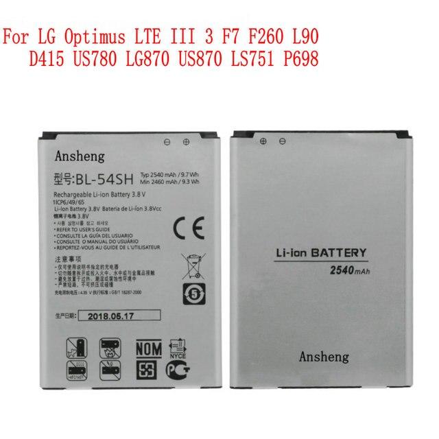 100% NOVA Original 2540 mah BL-54SH/SG bateria para LG Optimus LTE III 3 F7 F260 L90 D415 US780 LG870 US870 LS751 P698 Telefone Móvel