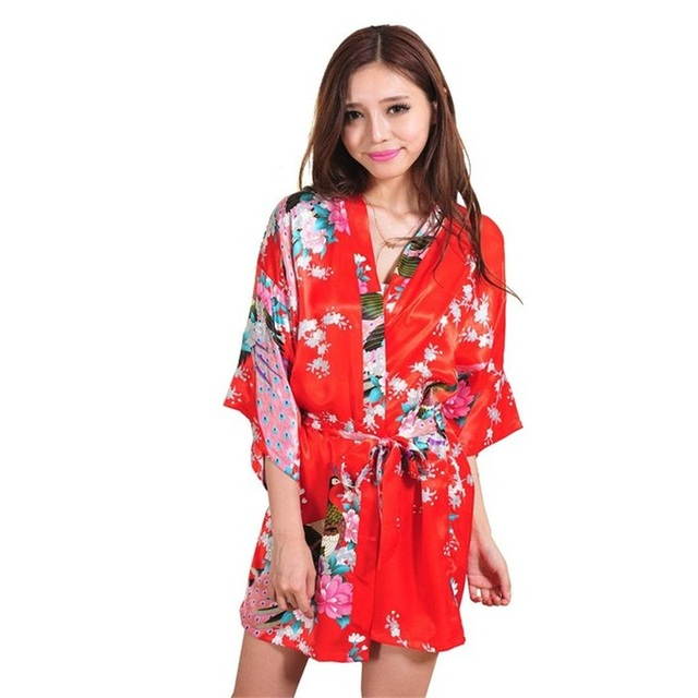 New Red Sexy Mini Lady Verão Veste de Banho Vestido de Seda Rayon Kimono Yukata Vestido Flor Tamanho Roupa S M L XL XXL XXXL A011