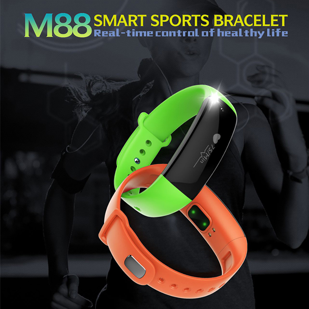 Smart Wrist Watch Bluetooth M88 Heart Rate Monitor Pedometer Calorie Sleep Monitor Wristwatch For Android system IOS system new arrival heart rate monitor watch rwatch r11 bluetooth smart watch wristwatch for ios android with pedometer sleep tracker
