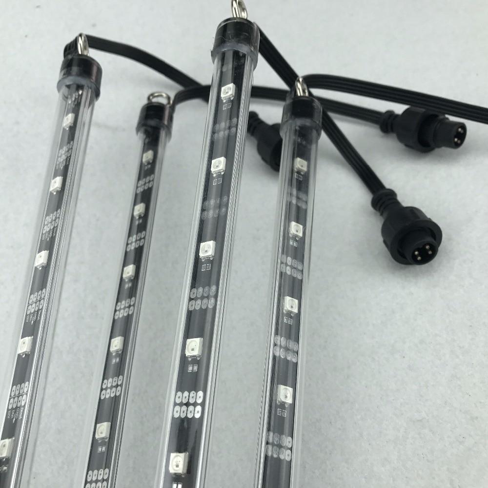 16mm DC12V addressable 1M long 3D WS2812B RGB meteor tube light;64pcs WS2812B LEDs/32pixels;with 4 c