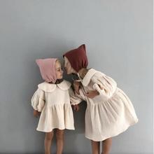 Summer Girls Dresses 2019 New Toddler Kids Cotton Linen Dress Baby Lapel Puff Sleeved Princess Childrens Clothing