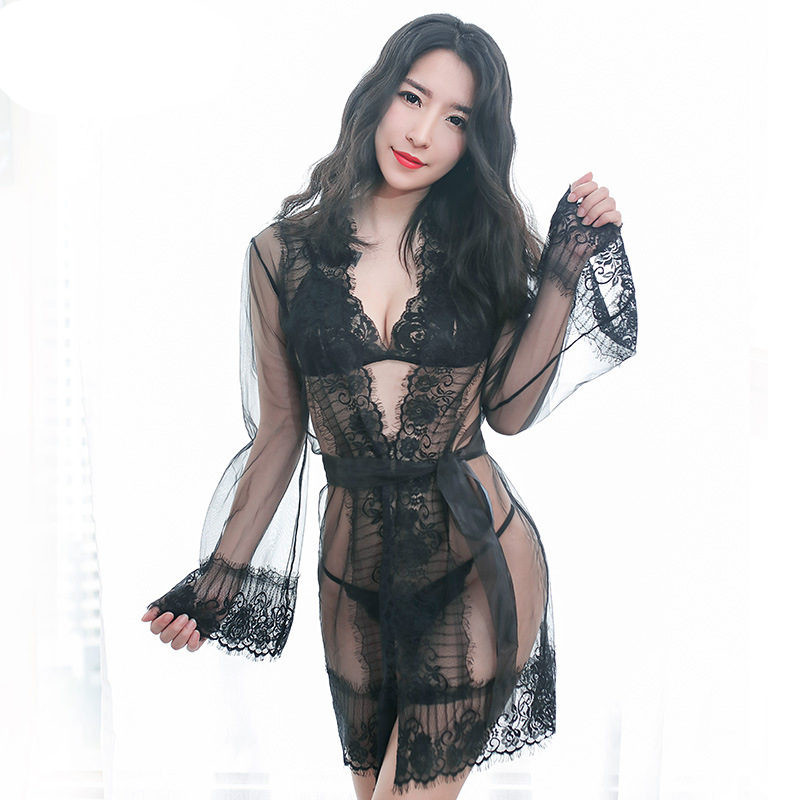 Women Lingerie Sexy Hot Erotic Babydoll Sex Costumes 4Pcs/set Lace See Through Bathrobe+ ...