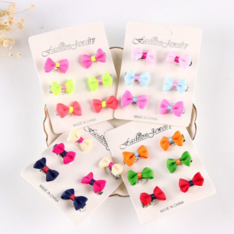 6Pcs/Set Sale Popular Children Hair Clip Hair Accessories Headwear Baby Ribbon Bow Cute Girls Barrettes