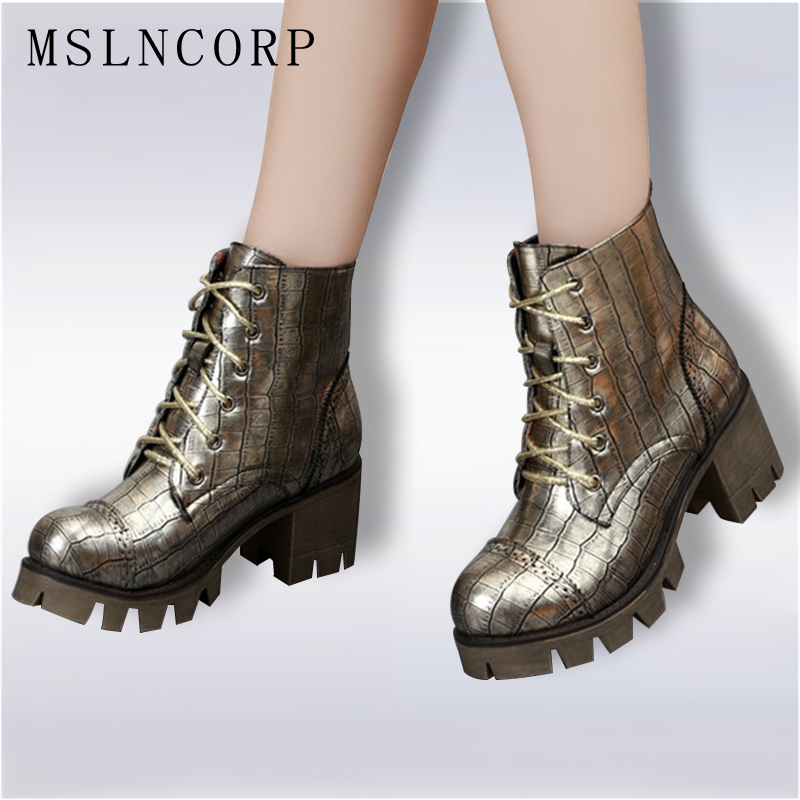 Plus Size 34-43 New Women Martin Boots Female Leather Gothic Punk Combat Boots Lacing Platform Woman Motorcycle Ankle Warm Shoes 2016 new winter women black high heel martin ankle boots buckle gothic punk motorcycle combat boots shoes platform free shipping