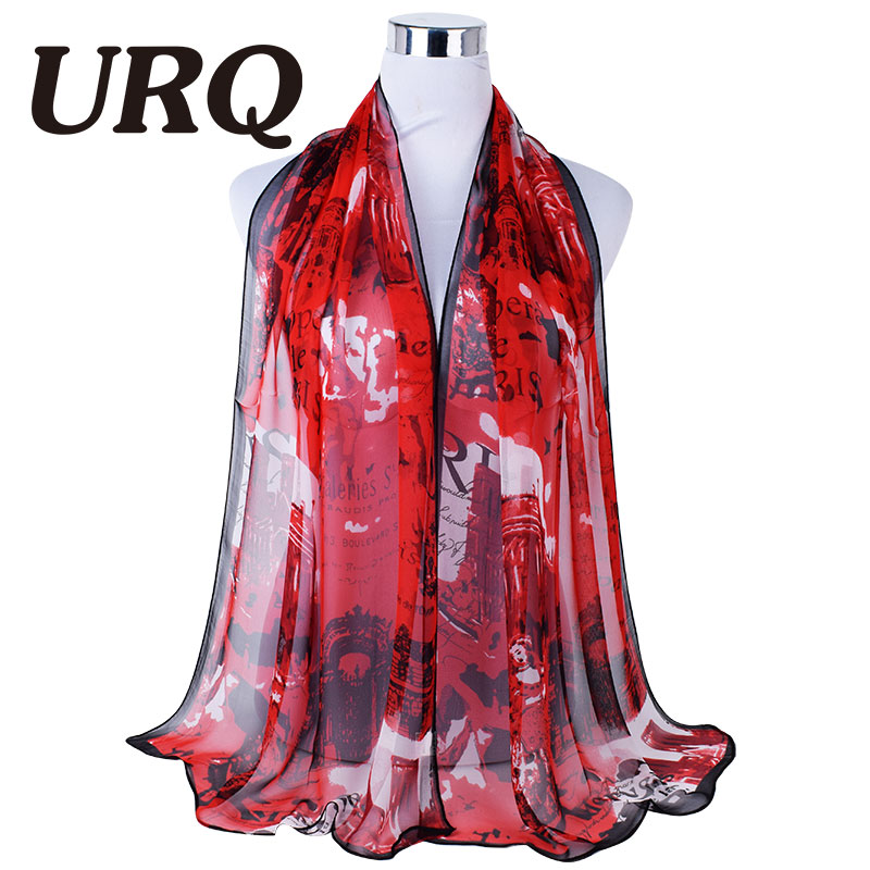 Paris Style fashion Summer Sale woman Prints soft georgette sheer Silk scarves Femme Q7A16058