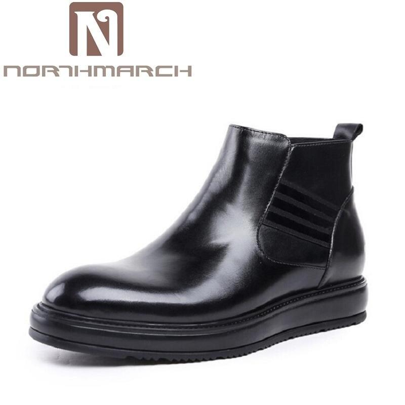 Northmarch Botas Hombres Cuero Punta Mano Británico Zapatos Hecha Calidad Invierno Casuales Negro A 2018 Los Genuino Redonda Estilo Marca De 0n4WzrF0q