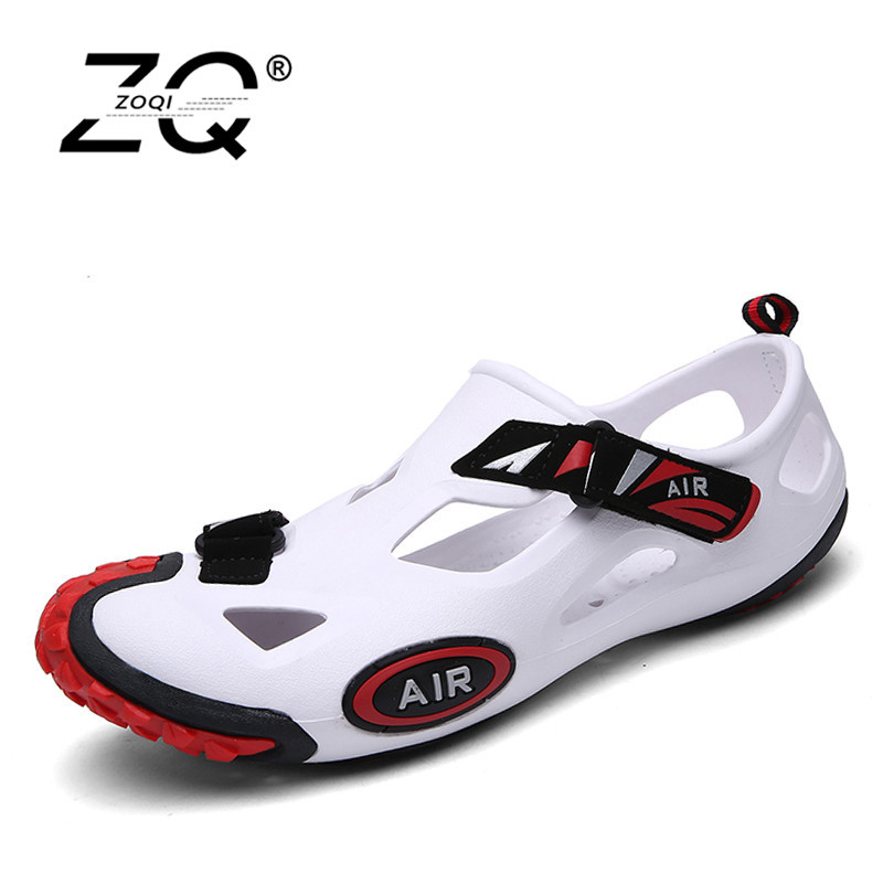 ZOQI Summer Shoes Men Sandals Outdoor Water Shoes Men Beach Sandals Black Mens Footwear Unisex Zapatos Mujer 2018 Size 35-44