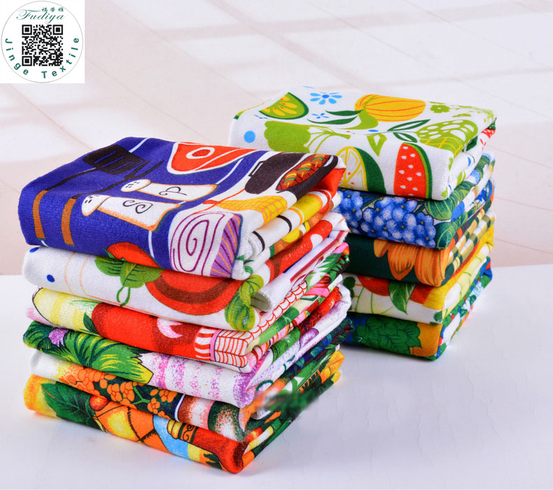 Envío libre venta caliente 5 unids / lote microfibra toalla de cocina absorbente, paño de limpieza de plato, colorido impreso paños de cocina herramientas de cocina