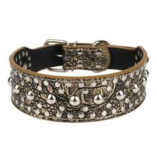 Round Rivets Big Dog Collars PU Leather Adjustable Collar for Large Breed Dogs Pet Supplies Products XS-L