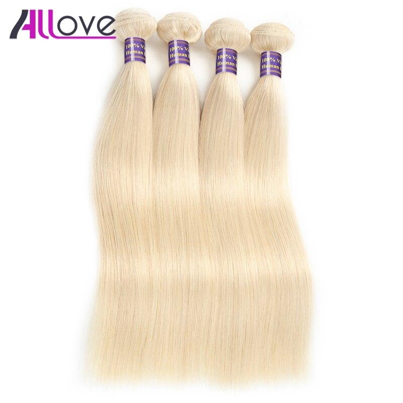 Allove 613 Связки Индийский прямые Человеческие волосы ткань Remy Человеческие волосы Связки 4 шт. Блондинка прямо волос Бесплатная доставка