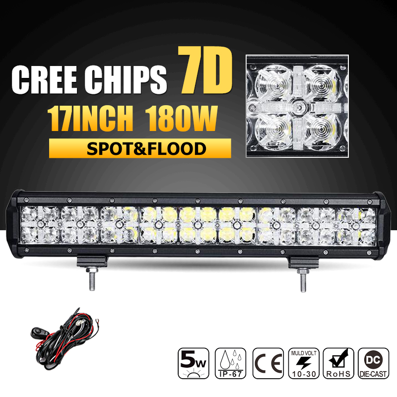 Oslamp 7D 180W 17 LED Offroad Light Bar CREE Chips Combo Beam Led Work Light Bar Driving Lamp for Truck SUV ATV 4x4 4WD 12v 24v oslamp 5d 32 led light bar 300w cree chips offroad led work light bar combo beam 12v 24v truck suv atv 4x4 4wd led driving lamp
