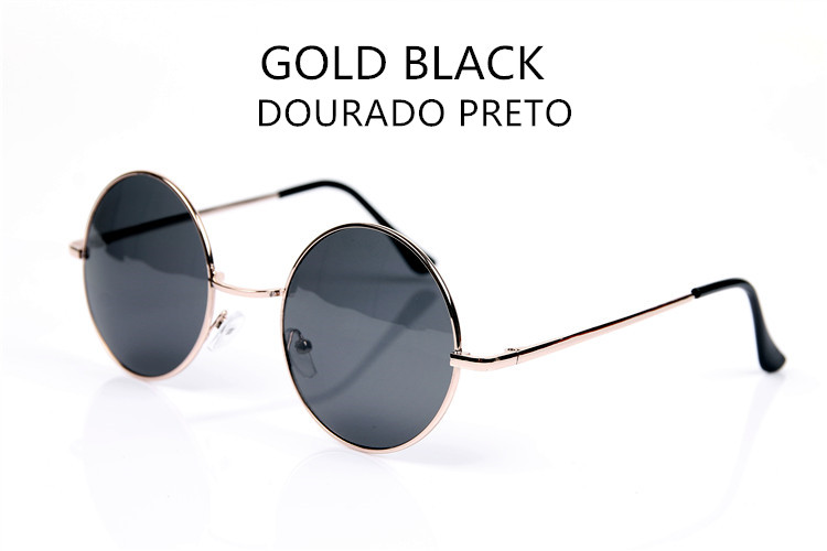 575c4072a YOOSKE الأزياء جولة البني الأسود النساء الرجال العلامة التجارية مصمم  النظارات الشمسية الذهب متعددة خمر دائرة نظارات شمسية ل الإناث الذكور