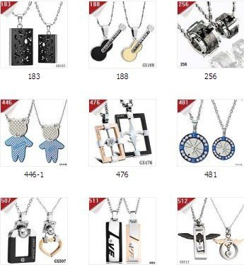 FASHION Mix Order Couple Pendants Necklace For Lovers Stainless Steel Necklaces & Pendant Free Shipping DHL EMS Men Jewelry
