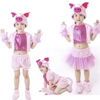Free shipping New cut children pig costume Kids dance Cosplay pig Clothing boys girls Dance Jumpsuit 90 150cm S 4XL size
