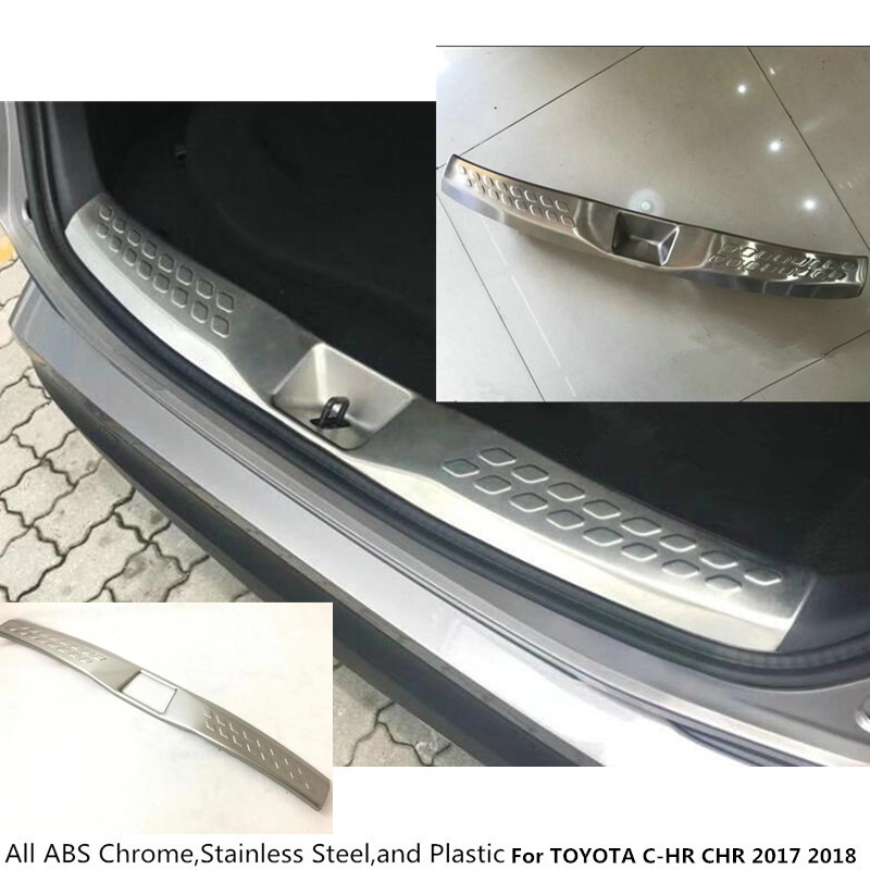 high quality For TOYOTA C-HR CHR 2017 2018 car inner inside Rear Bumper trim Stainless Steel Scuff Sill trunk plate pedal 1pcs for toyota c hr 2016 2017 stainless steel inner