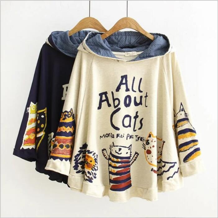 2017 New Autumn And Winter Hoodies Hooded Loose Print Cats Kawaii Japan Style Harajuku Hoodies Tops