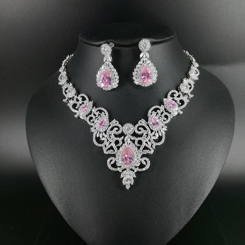 New fashion retro palace romantic V pink zircon necklace earring set wedding bride banquet dress jewelry set free shipping