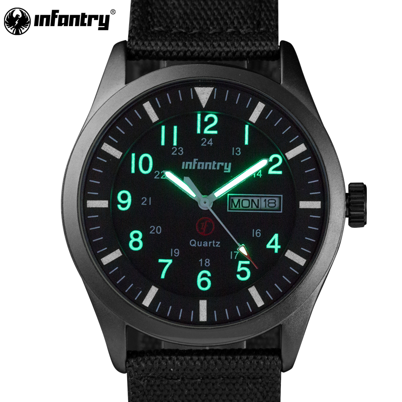INFANTRY Mens Quartz Wristwatch Military Luminous Black Watch Auto Date Sports Army Men Watches Hot Sale Durable Nylon 2017 infantry mens watches relojes hombre luminous watches 2017 new date day police black g10 nylon fabric strap quartz watches