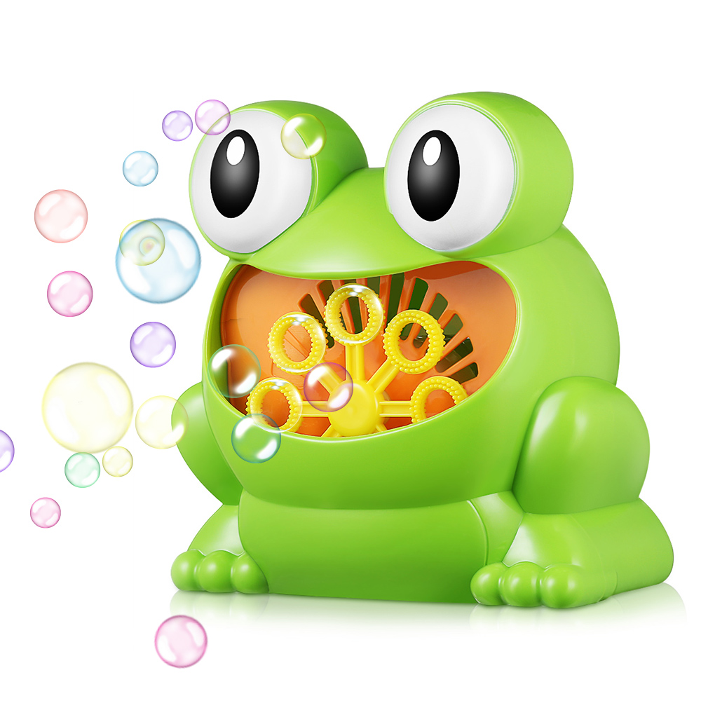 011 Frog-Shape Full Automatic Bubble Machine Children Toy For Boys Girls Safe And Durable Bubbles With 8 Bubble Blowing Wands