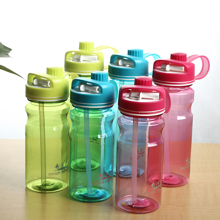 Handy Portable Plastic Water Bottle With InvisibleTwo-mouth Fashionable Straw BPA Free Leak Proof Sports Water Bottle(China)