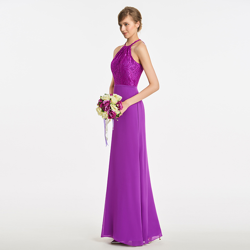 Tanpell halter a line bridesmaid dress purple sleeveless floor length gown  women lace graduation party formal bridesmaid dresses-in Bridesmaid Dresses  from ... f6c4088c8d2b
