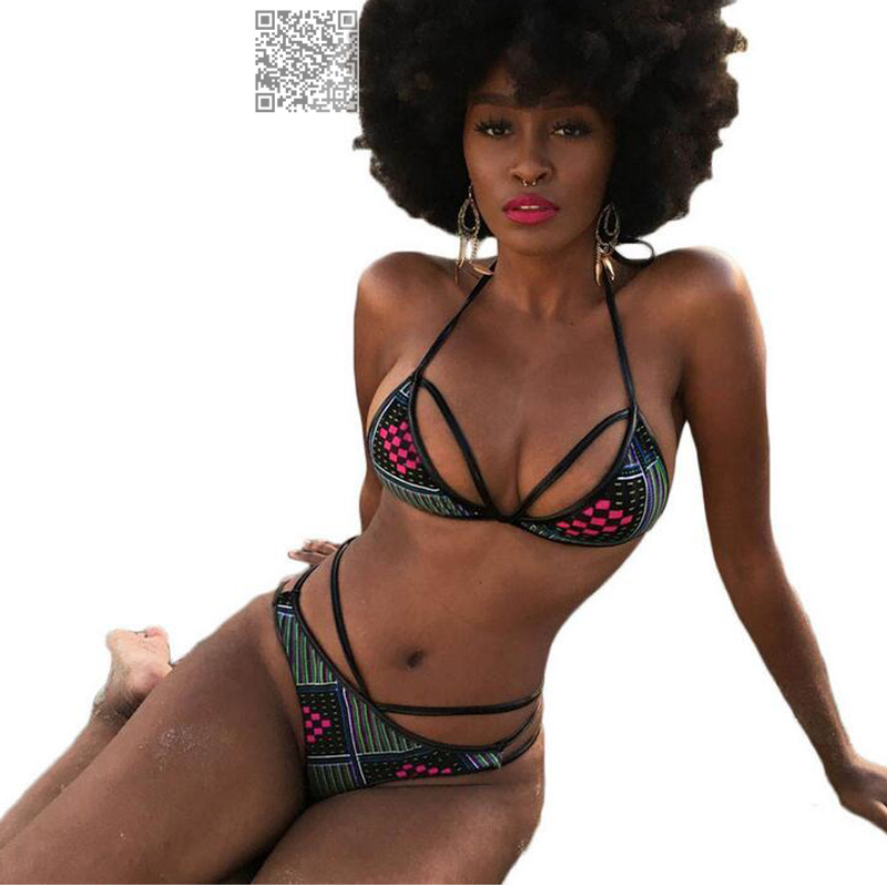 7 Color African Print Vintage High Waist Bikini Set Two Piece Swimsuit For Women Sexy Halter Bathing Suit Sexy Ladies Swimwear sweet swan print spaghetti strap two piece swimsuit for women