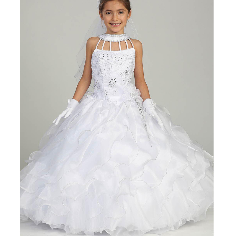 Flower Girl Dresses 2015 Tiered Tulle Ball Gown Beaded
