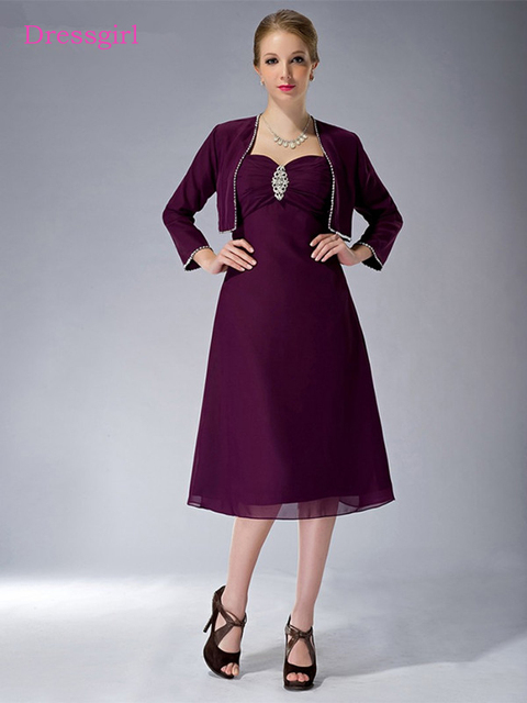 1fd6707c035 Purple 2019 Mother Of The Bride Dresses A-line Chiffon Beaded Tea Length  Plus Size Short Elegant Groom Mother Dresses Wedding
