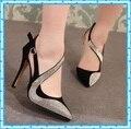 Nova moda sexy mulheres bombas de primavera verão vintage strass capa sapatos de salto alto mulheres sandálias de dedo apontado para as mulheres C246