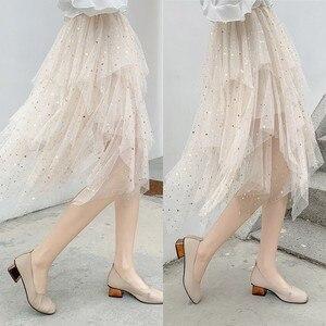 Image 2 - 夏の女性の膝丈プリーツスカートかわいい星のスパンコールシックなスカートスイング不規則なシャイニングビーズチュール女性ファッションスカート