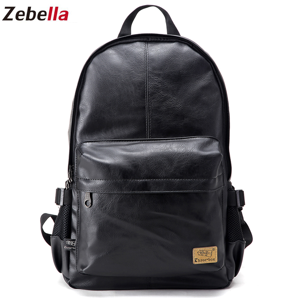 Zebella Brand Vintage Men Backpacks PU Leather School Women Bags Teenager Casual Laptop Travel Shoulder Bags Mochila Rucksack zebella travel high quality pu leather men backpack big capacity waterproof functional male backpacks school teenager men bags