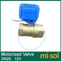 1pcs motorized ball valve DN25 (reduce port), 2 way, 12V electrical valve
