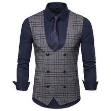 цена 2019 autumn new men's business casual plaid vest formal suit jacket men's casual U-neck vest double-breasted plaid vest S-XXXL онлайн в 2017 году