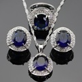 Luxury White CZ Surrounded Blue Created Sapphire Jewelry Set Silver Color Necklace/Pendant/Ring Earring For Women Free Gift Box