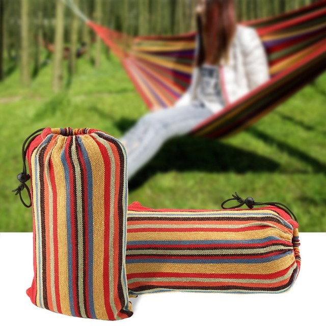 2 Person Outdoor Hammock Double Sleeping Bag Hanging Bed Canvas Swing With For Camping