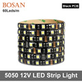 5m led strip Black PCB LED Strip light 5050 DC12V 60LED/m 5m/lot White / Warm White / Red / Green / Blue / RGB 5050 LED Strip
