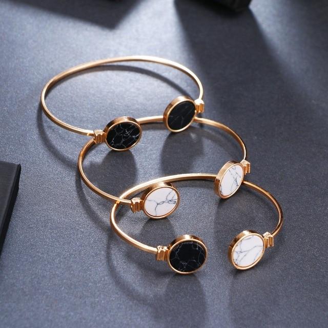 IPARAM Fashion Charm Bangles Opening Adjustable Women's Geometric Round Black and White Marbles Bangles & Bracelets 1