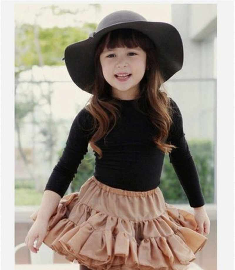 2cf574ebb2dcc ... Autumn Winter Warm Kids Boys Girls Vintage Wide Brim Cap Soft Wool Felt  Bowknot Bowler Floppy ...