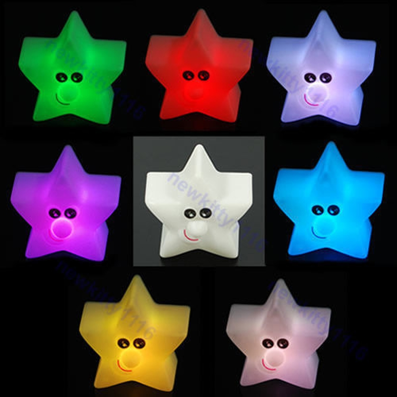YAM Plastic Cute Shiny Star 7 Color Changing LED Lamp Night Light Party Decor Kids Gift Great For Decorating Or Gift