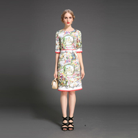 Custom Dress S 6XL Vintage Fashion Brand 2016 Summer Newest O Neck Short Sleeve Silm Print