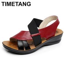 Timetang летние женские мягкое дно среднего возраста Сандалии для девочек модные удобные женские мокасины Сандалии для девочек кожа женская обувь большого размера C080