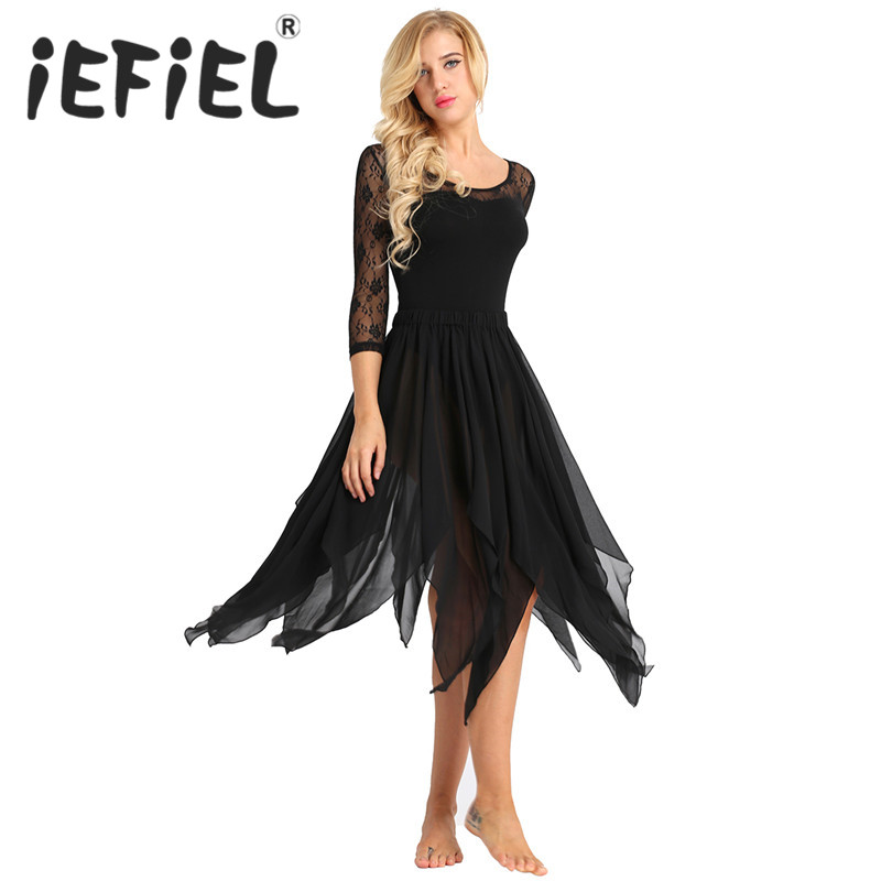 iEFiEL Women Girls Side Split Asymmetric Belly Dance Chiffon Skirt Adult Costume Dress for Dancer Dancing Stage Performance