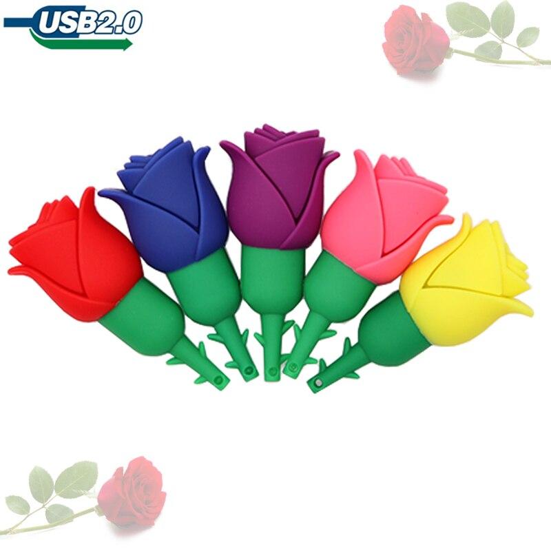 Pendrive Cartoon Rose Mini  Usb Flash Drive 128GB Cute Flowers Pen Drive 4GB 8GB 16GB 32GB 64GB Memory Stick Creative Gift Stick