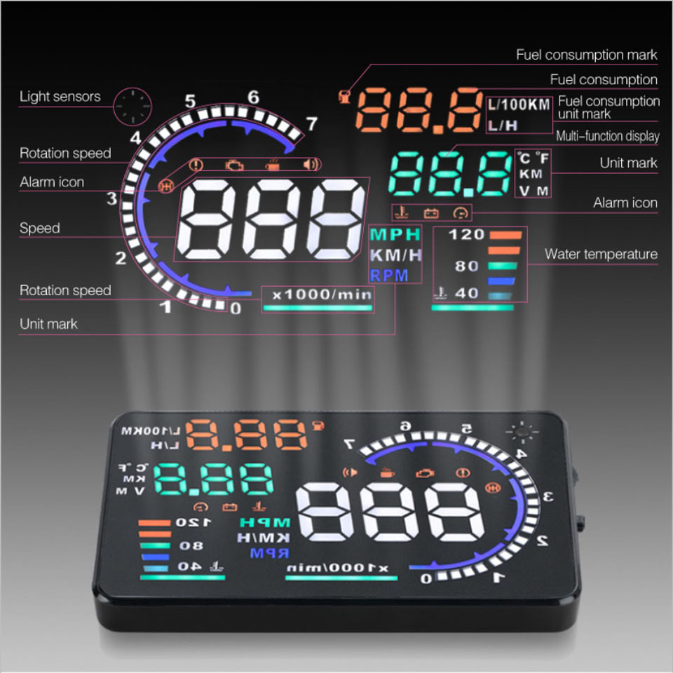 Head Up Display Car Speed Projector Windshield Fuel Digital Radar Speedometer Consumption 55 Screen Alarm Hud Free Shipping 35 In From
